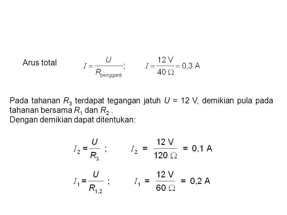 Arus total Pada tahanan R3 terdapat tegangan jatuh U = 12 V, demikian pula pada tahanan bersama R1 dan R2 .