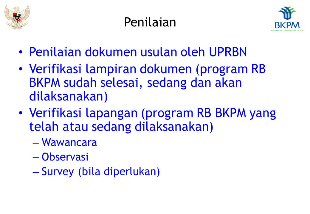 Penilaian dokumen usulan oleh UPRBN