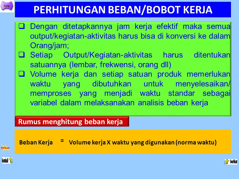 PERHITUNGAN BEBAN/BOBOT KERJA