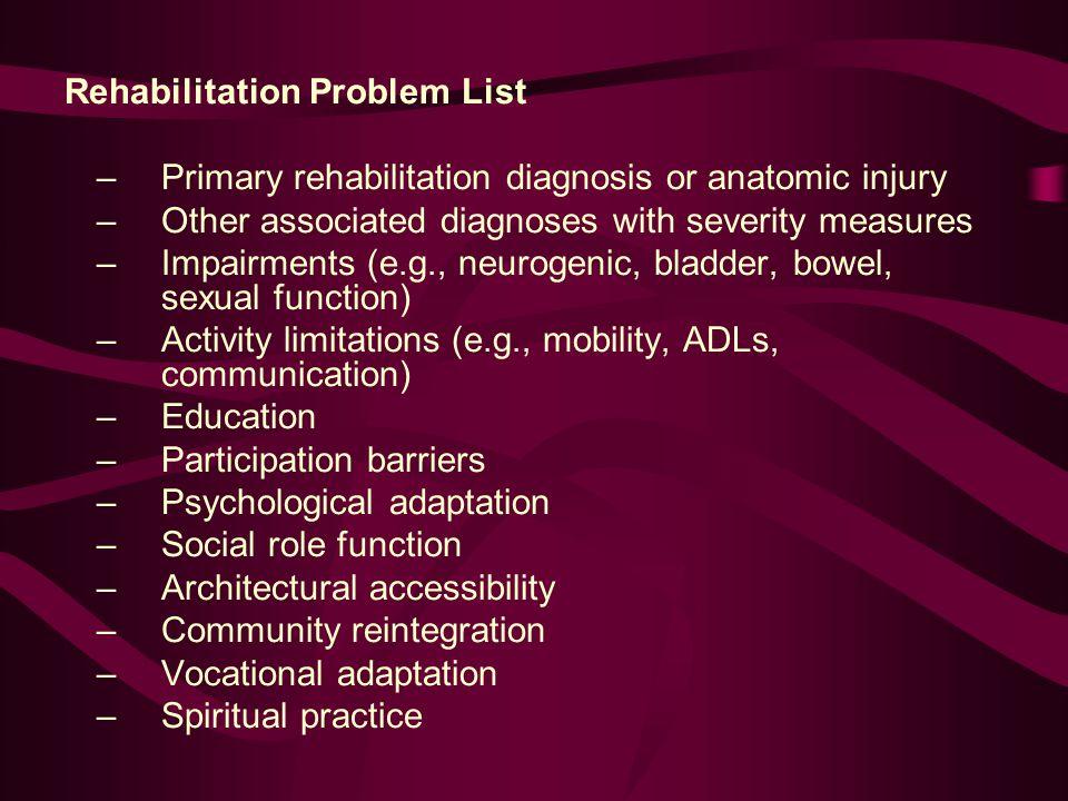 Rehabilitation Problem List