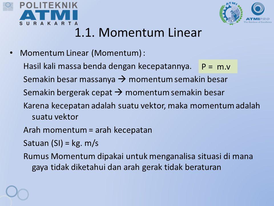 1.1. Momentum Linear Momentum Linear (Momentum) :