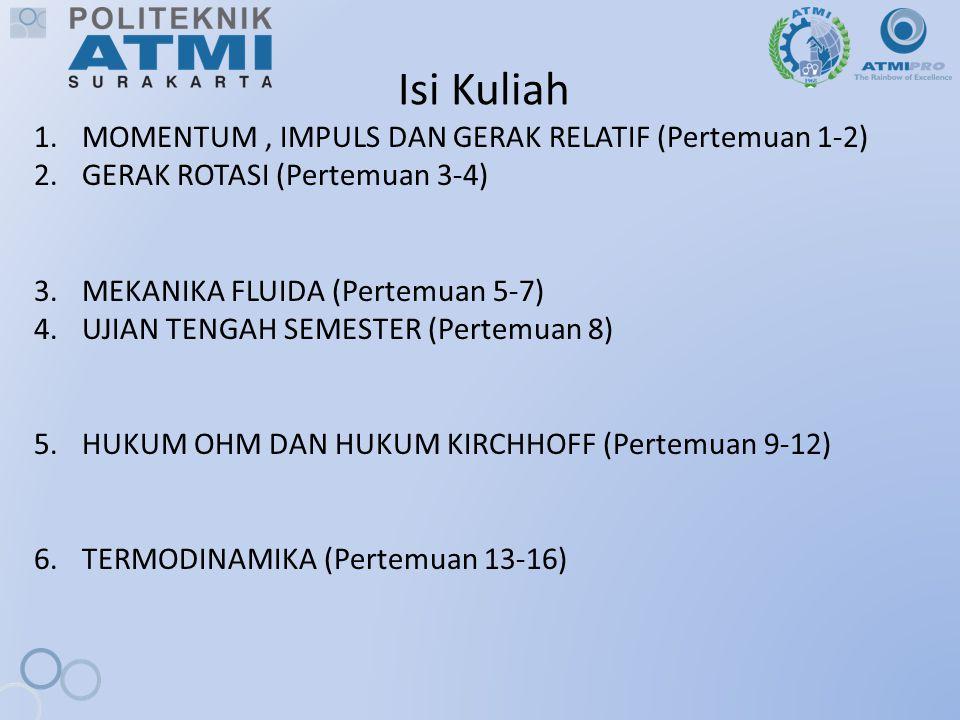 Isi Kuliah MOMENTUM , IMPULS DAN GERAK RELATIF (Pertemuan 1-2)