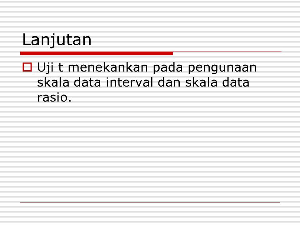 Lanjutan Uji t menekankan pada pengunaan skala data interval dan skala data rasio.