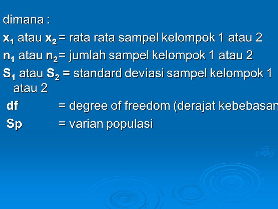 dimana : x1 atau x2 = rata rata sampel kelompok 1 atau 2. n1 atau n2 = jumlah sampel kelompok 1 atau 2.