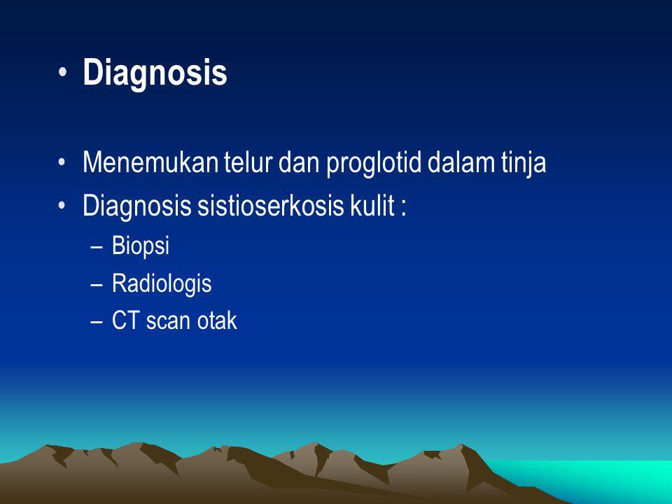 Diagnosis Menemukan telur dan proglotid dalam tinja