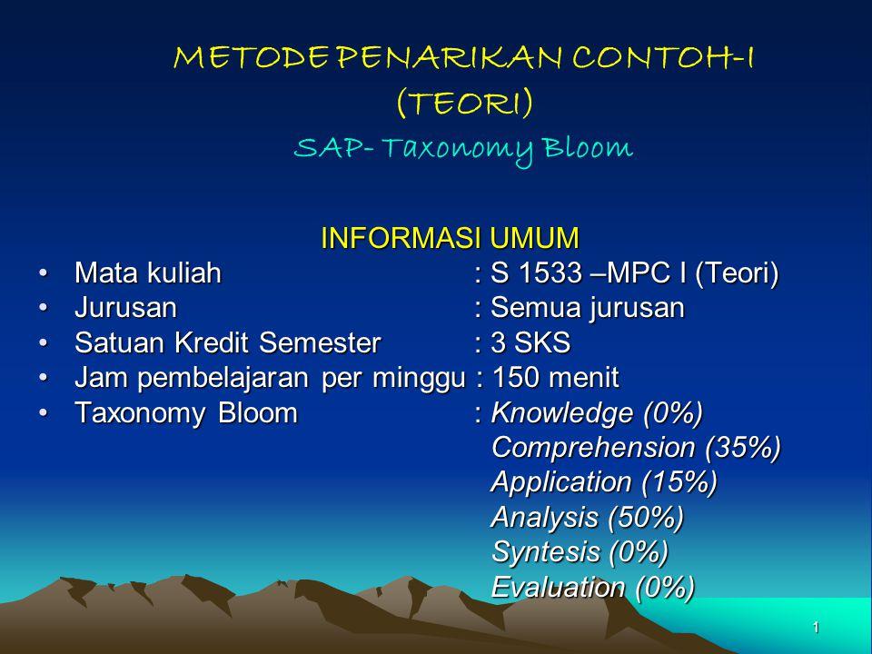 METODE PENARIKAN CONTOH-I (TEORI) SAP- Taxonomy Bloom