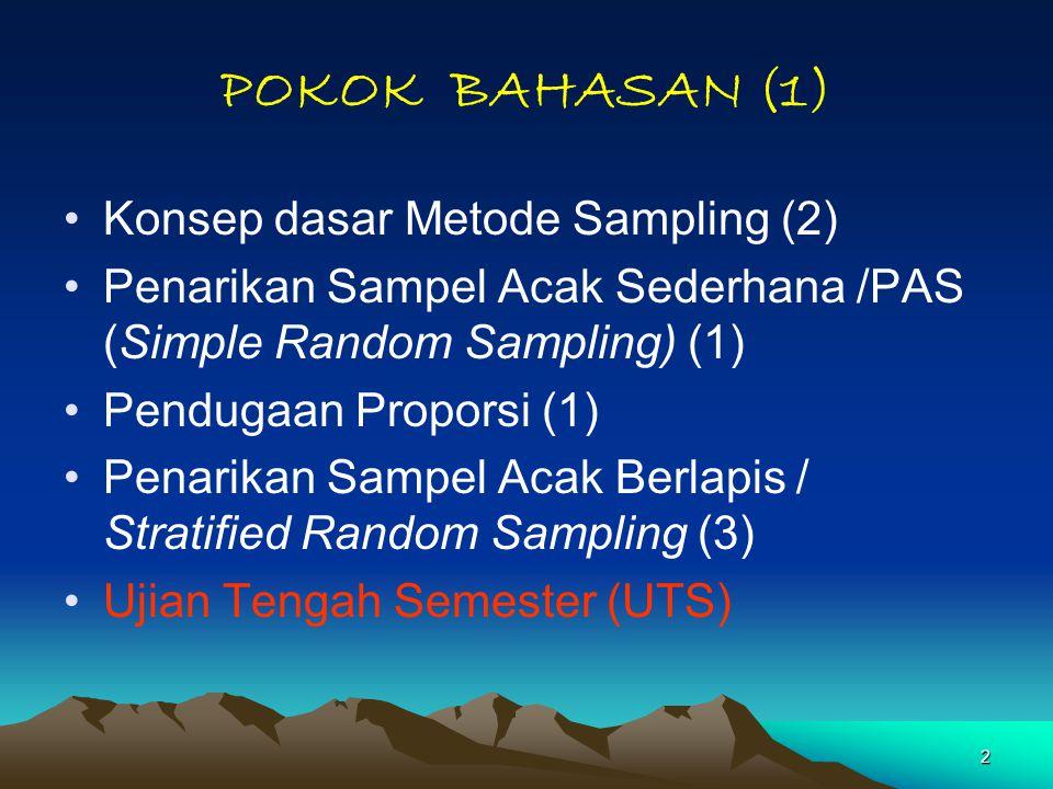 POKOK BAHASAN (1) Konsep dasar Metode Sampling (2)