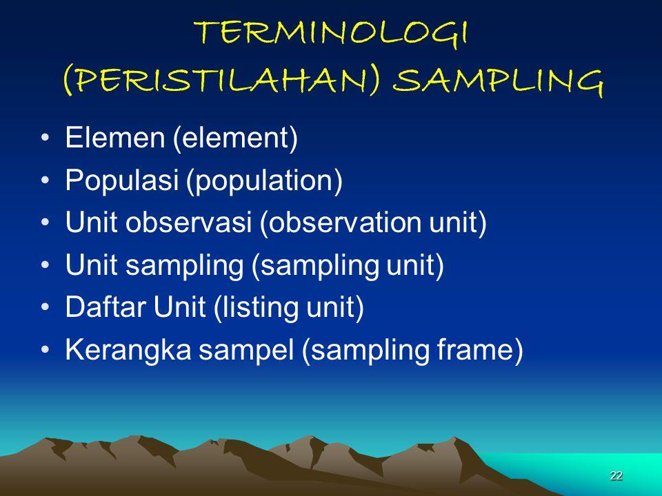 TERMINOLOGI (PERISTILAHAN) SAMPLING