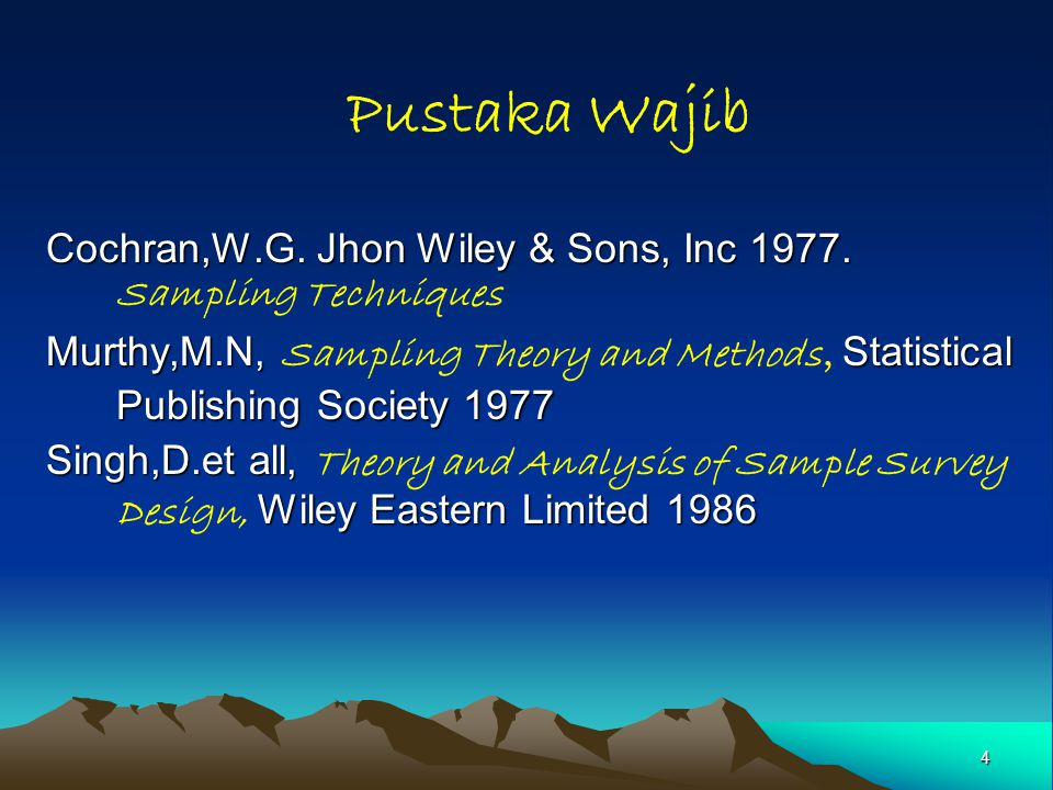 Pustaka Wajib Cochran,W.G. Jhon Wiley & Sons, Inc 1977. Sampling Techniques.