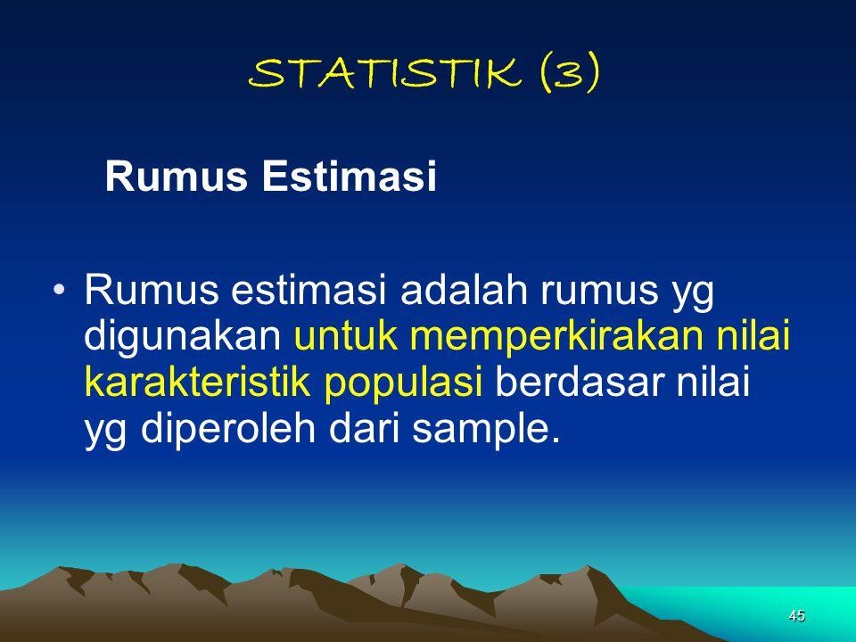 STATISTIK (3) Rumus Estimasi.