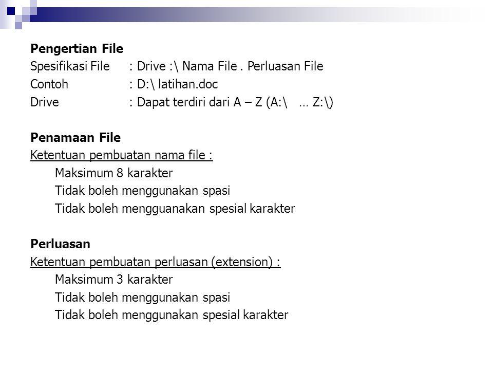 Pengertian File Spesifikasi File : Drive :\ Nama File . Perluasan File. Contoh : D:\ latihan.doc.