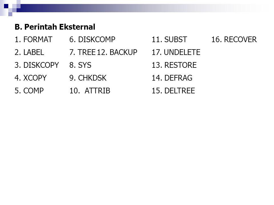 B. Perintah Eksternal 1. FORMAT 6. DISKCOMP 11. SUBST 16. RECOVER. 2. LABEL 7. TREE 12. BACKUP 17. UNDELETE.