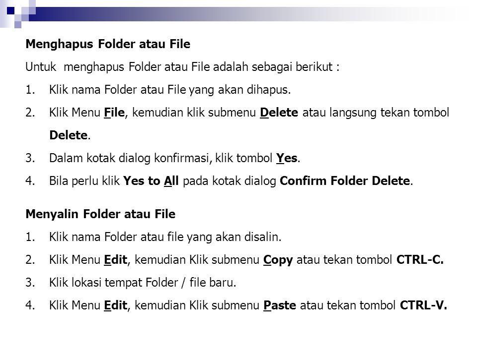 Menghapus Folder atau File