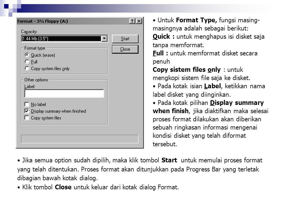 Untuk Format Type, fungsi masing-masingnya adalah sebagai berikut: