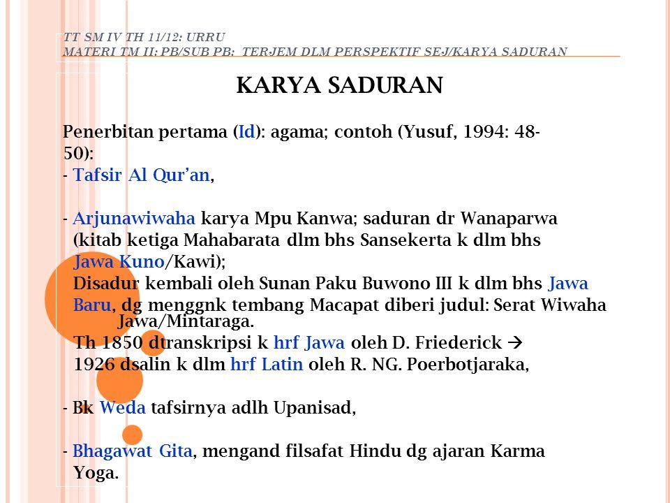 KARYA SADURAN Penerbitan pertama (Id): agama; contoh (Yusuf, 1994: 48-