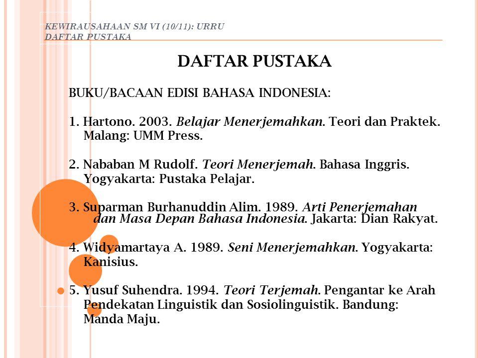 KEWIRAUSAHAAN SM VI (10/11): URRU DAFTAR PUSTAKA
