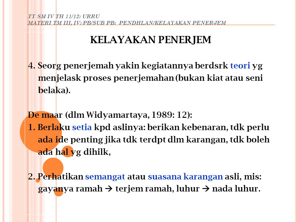 TT SM IV TH 11/12: URRU MATERI TM III, IV: PB/SUB PB: PENDHLAN/KELAYAKAN PENERJEM