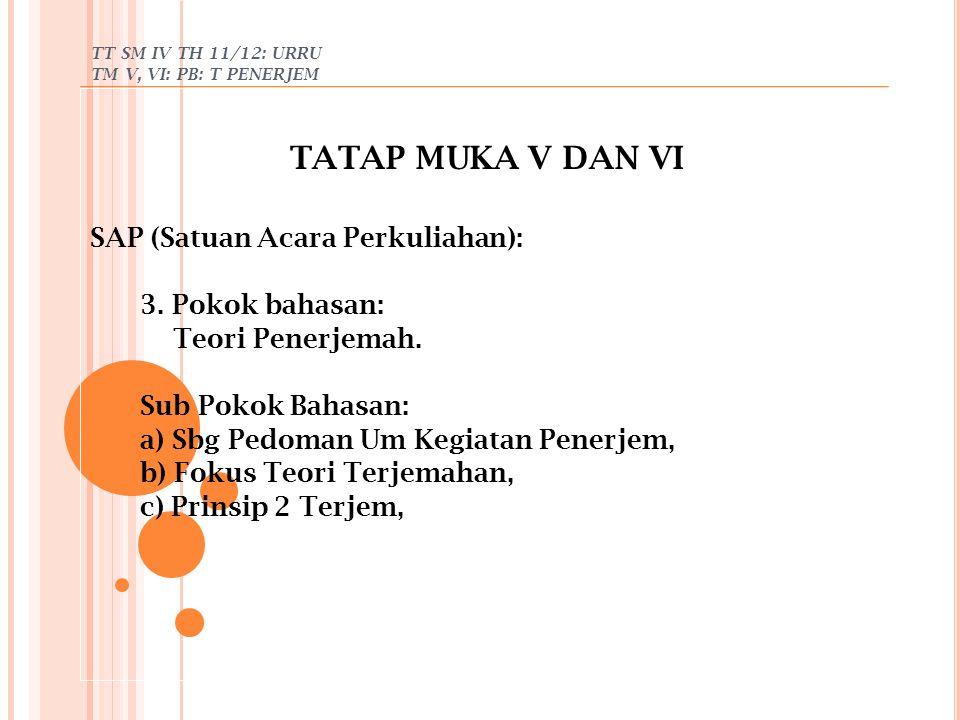 TT SM IV TH 11/12: URRU TM V, VI: PB: T PENERJEM