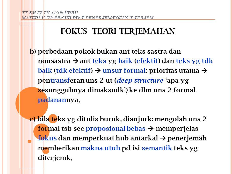 FOKUS TEORI TERJEMAHAN