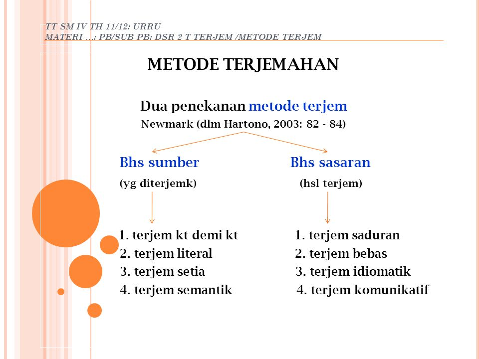 Dua penekanan metode terjem Newmark (dlm Hartono, 2003: 82 - 84)