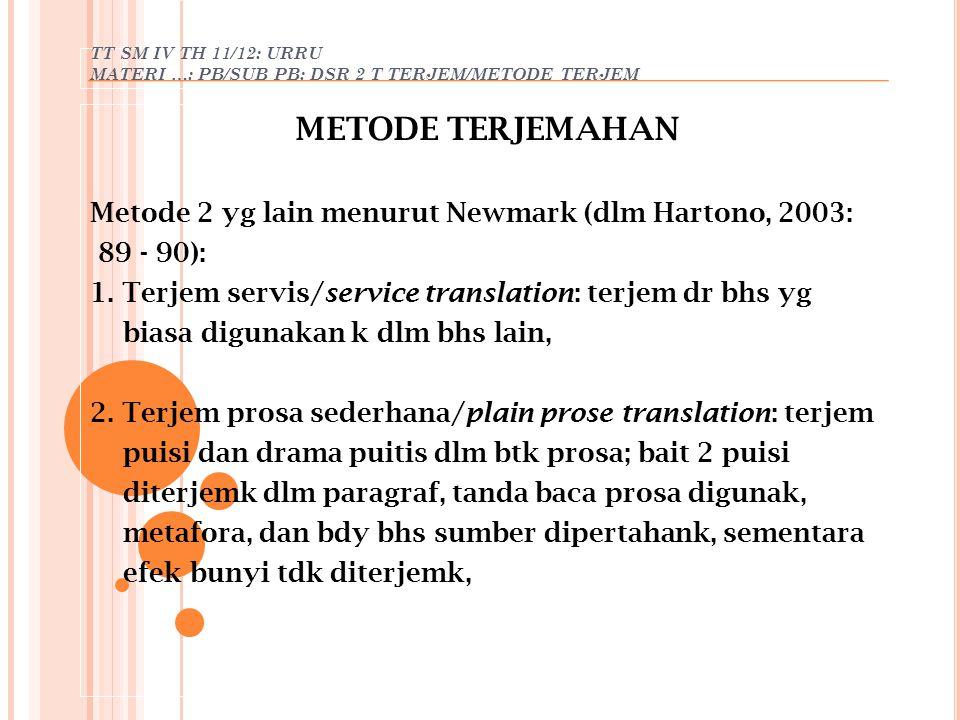 METODE TERJEMAHAN Metode 2 yg lain menurut Newmark (dlm Hartono, 2003: