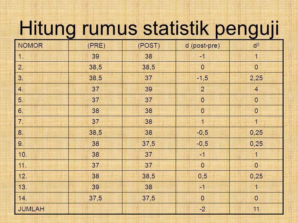 Hitung rumus statistik penguji