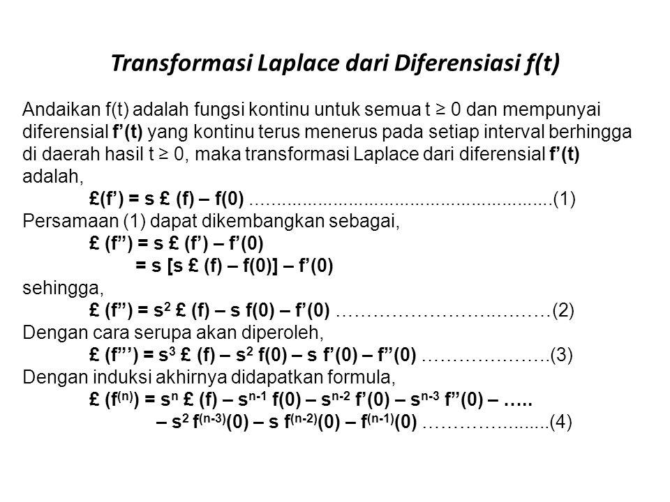 Transformasi Laplace dari Diferensiasi f(t)