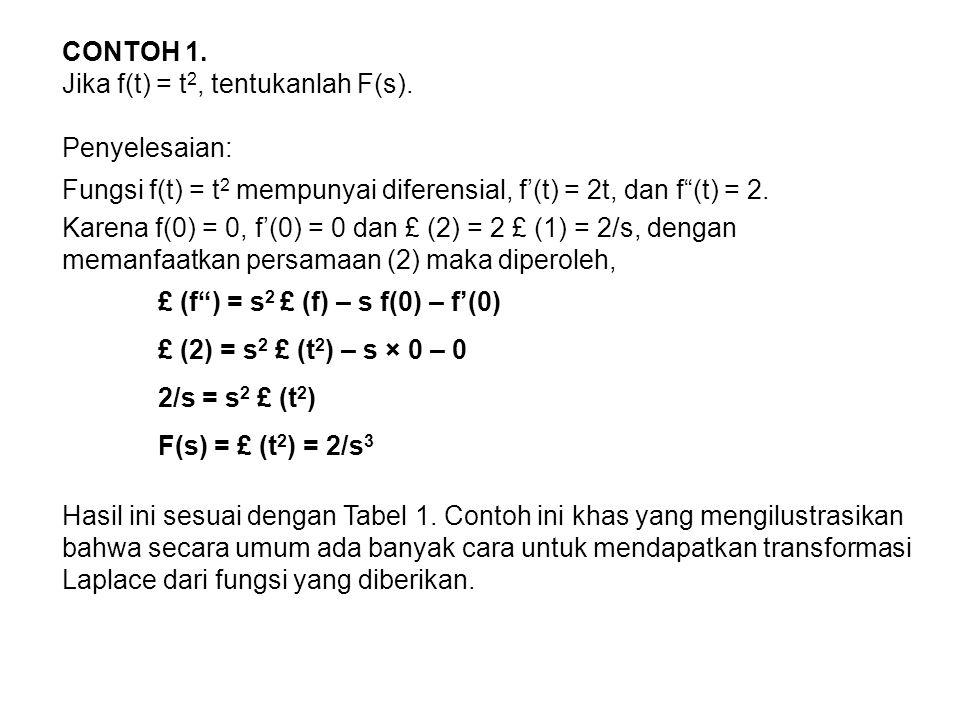 CONTOH 1. Jika f(t) = t2, tentukanlah F(s). Penyelesaian: Fungsi f(t) = t2 mempunyai diferensial, f'(t) = 2t, dan f (t) = 2.