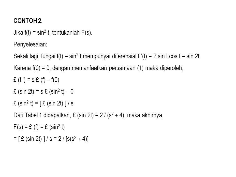 CONTOH 2. Jika f(t) = sin2 t, tentukanlah F(s). Penyelesaian: