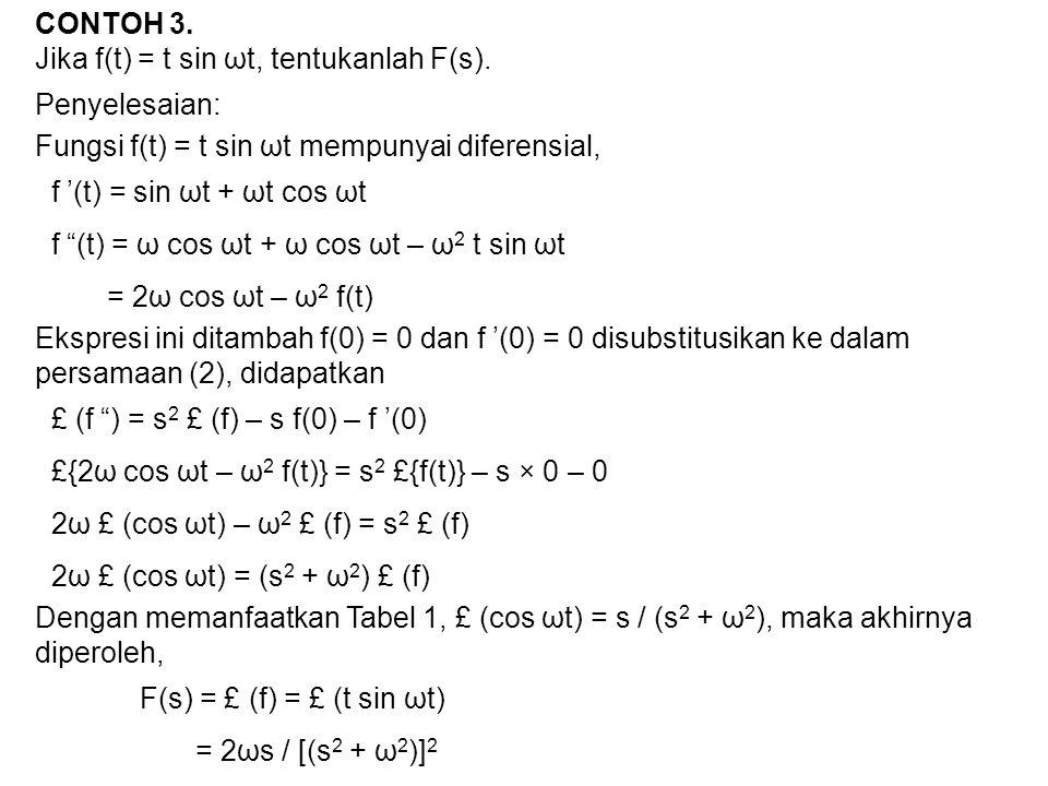 CONTOH 3. Jika f(t) = t sin ωt, tentukanlah F(s). Penyelesaian: Fungsi f(t) = t sin ωt mempunyai diferensial,