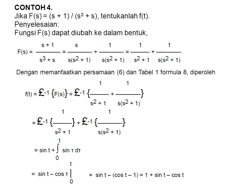 Jika F(s) = (s + 1) / (s3 + s), tentukanlah f(t). Penyelesaian: