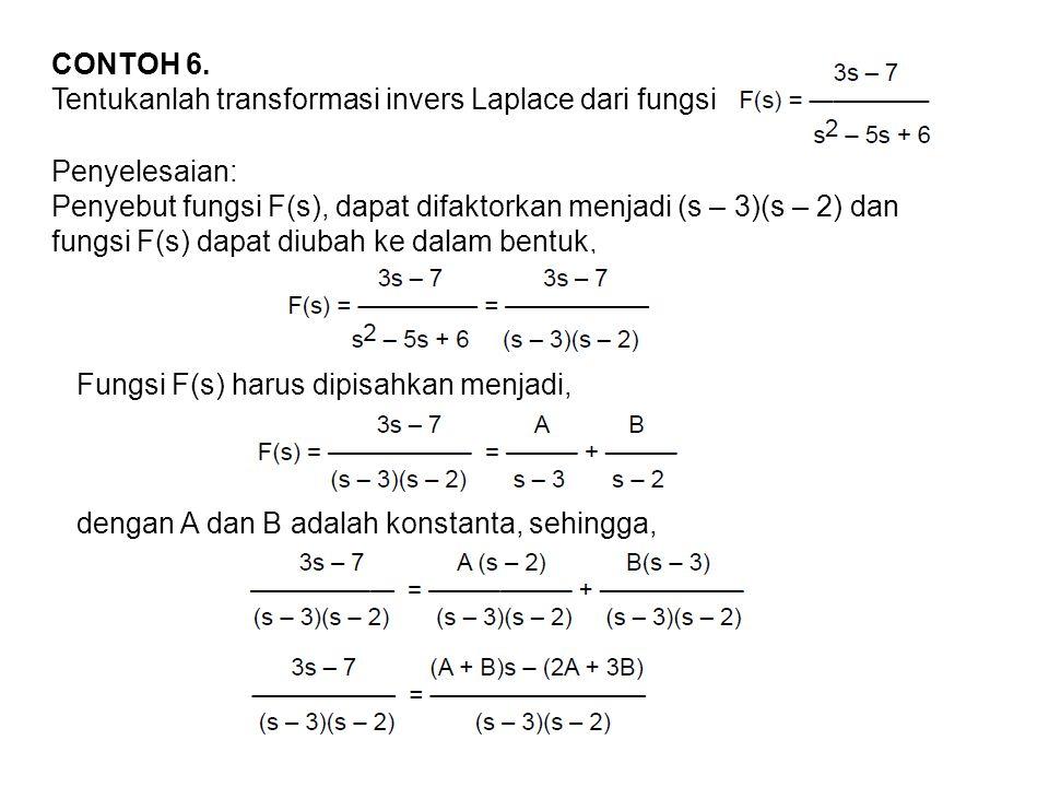 CONTOH 6. Tentukanlah transformasi invers Laplace dari fungsi. Penyelesaian: