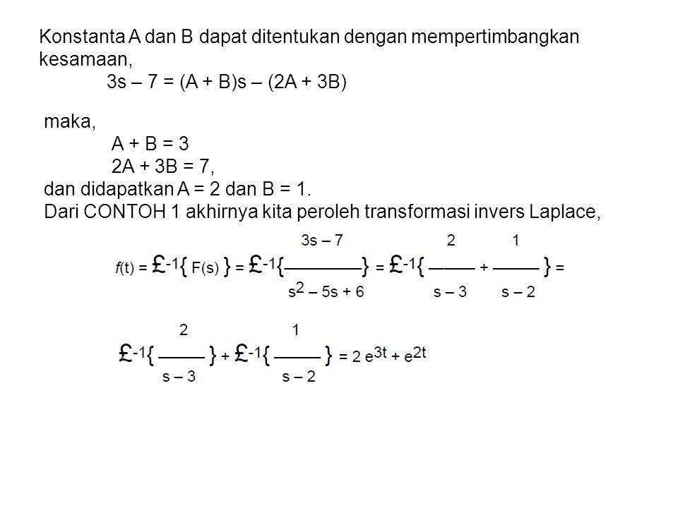 Konstanta A dan B dapat ditentukan dengan mempertimbangkan kesamaan,