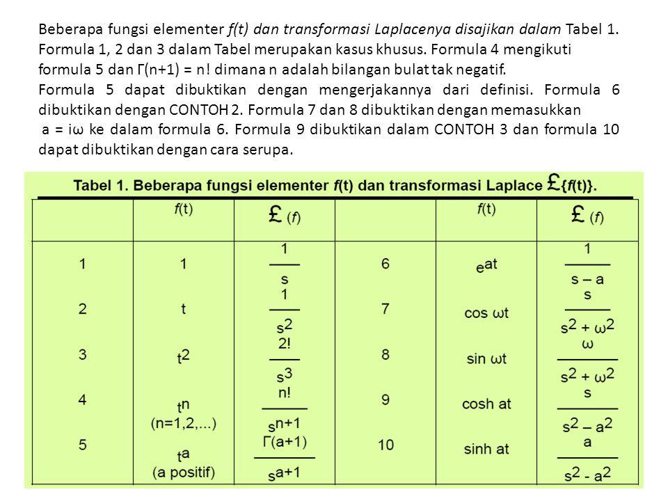 Beberapa fungsi elementer f(t) dan transformasi Laplacenya disajikan dalam Tabel 1. Formula 1, 2 dan 3 dalam Tabel merupakan kasus khusus. Formula 4 mengikuti