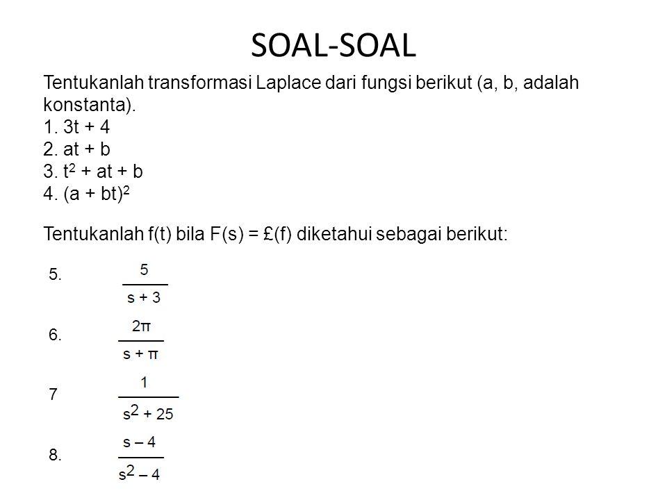 SOAL-SOAL Tentukanlah transformasi Laplace dari fungsi berikut (a, b, adalah konstanta). 1. 3t + 4.