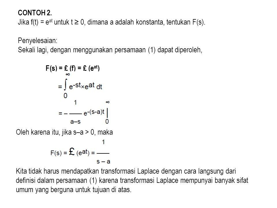 CONTOH 2. Jika f(t) = eat untuk t ≥ 0, dimana a adalah konstanta, tentukan F(s). Penyelesaian: