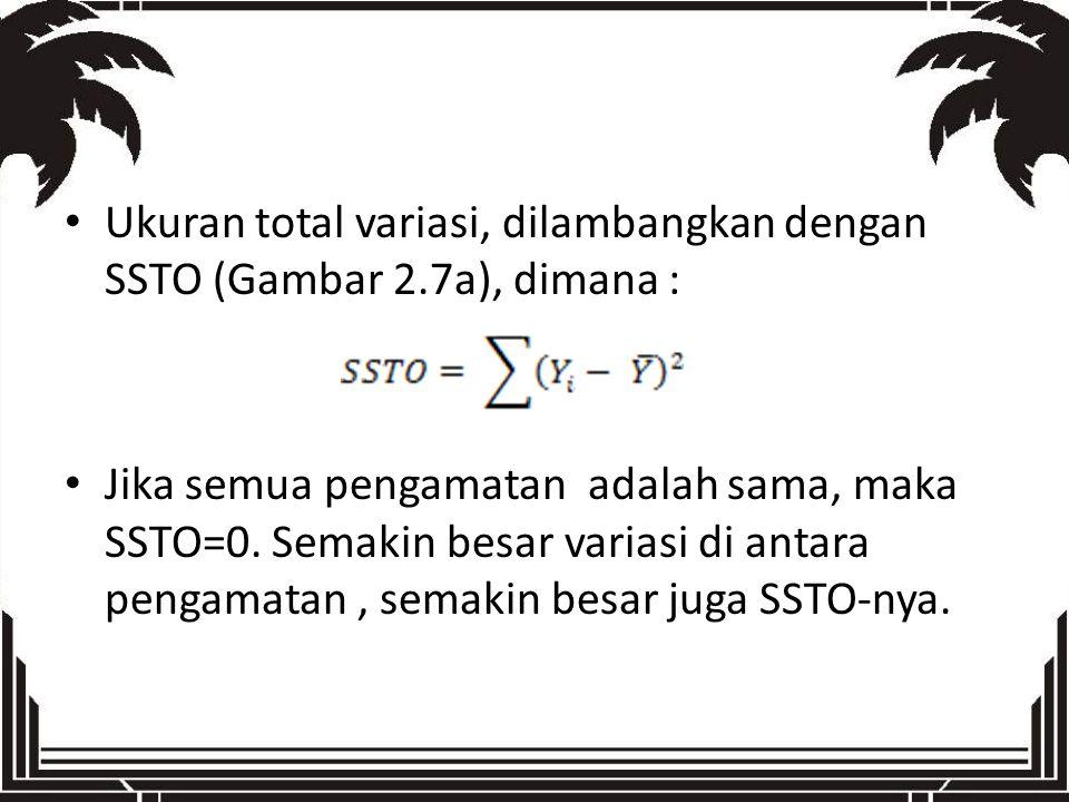 Ukuran total variasi, dilambangkan dengan SSTO (Gambar 2.7a), dimana :