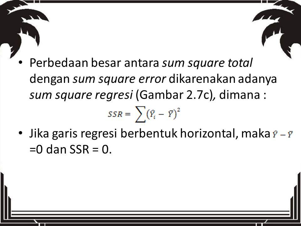 Perbedaan besar antara sum square total dengan sum square error dikarenakan adanya sum square regresi (Gambar 2.7c), dimana :