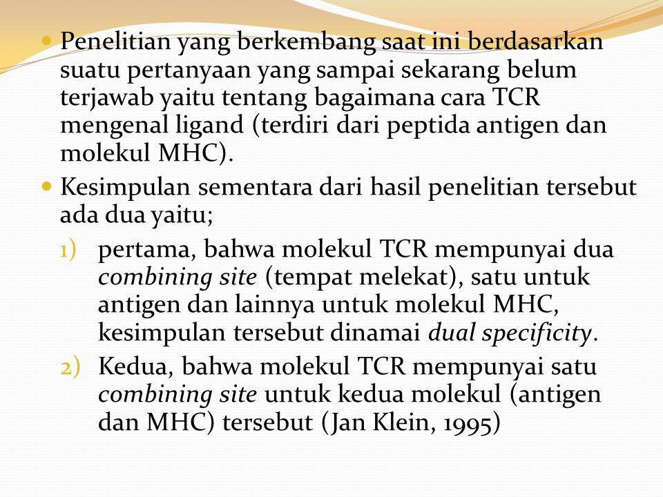 Penelitian yang berkembang saat ini berdasarkan suatu pertanyaan yang sampai sekarang belum terjawab yaitu tentang bagaimana cara TCR mengenal ligand (terdiri dari peptida antigen dan molekul MHC).