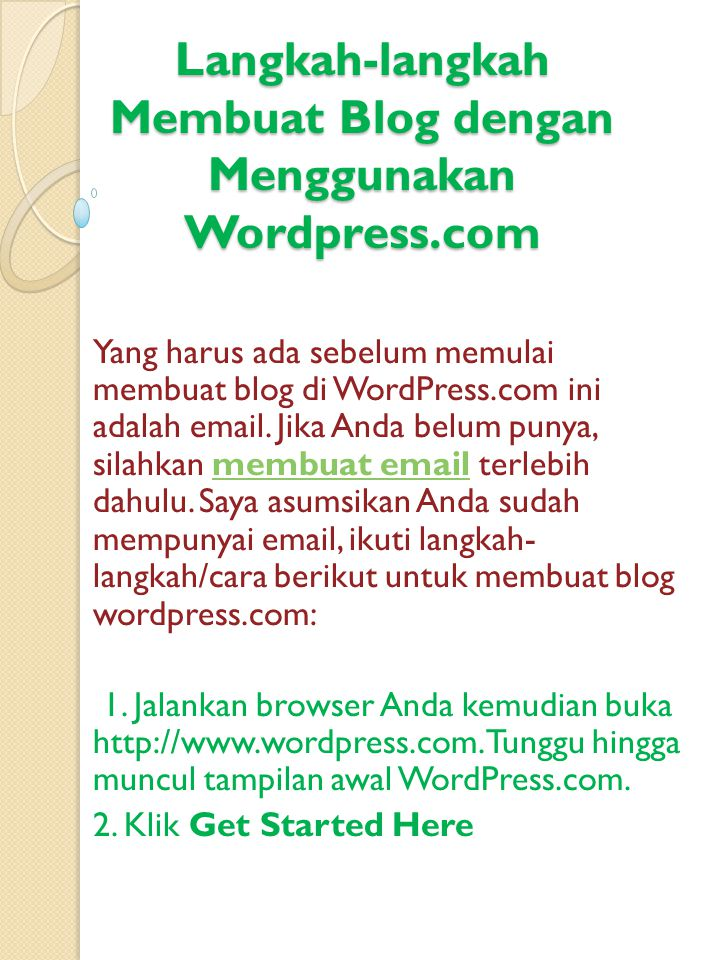 Langkah-langkah Membuat Blog dengan Menggunakan Wordpress.com