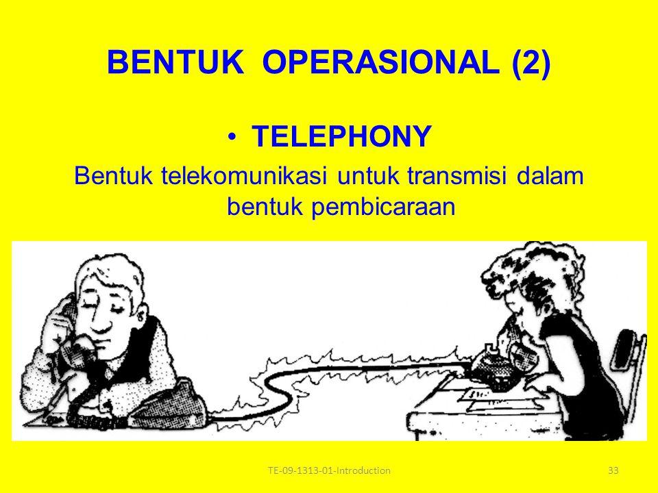 Bentuk telekomunikasi untuk transmisi dalam bentuk pembicaraan