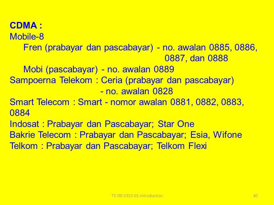 Fren (prabayar dan pascabayar) - no. awalan 0885, 0886, 0887, dan 0888
