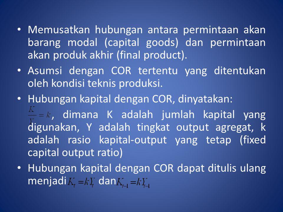 Memusatkan hubungan antara permintaan akan barang modal (capital goods) dan permintaan akan produk akhir (final product).