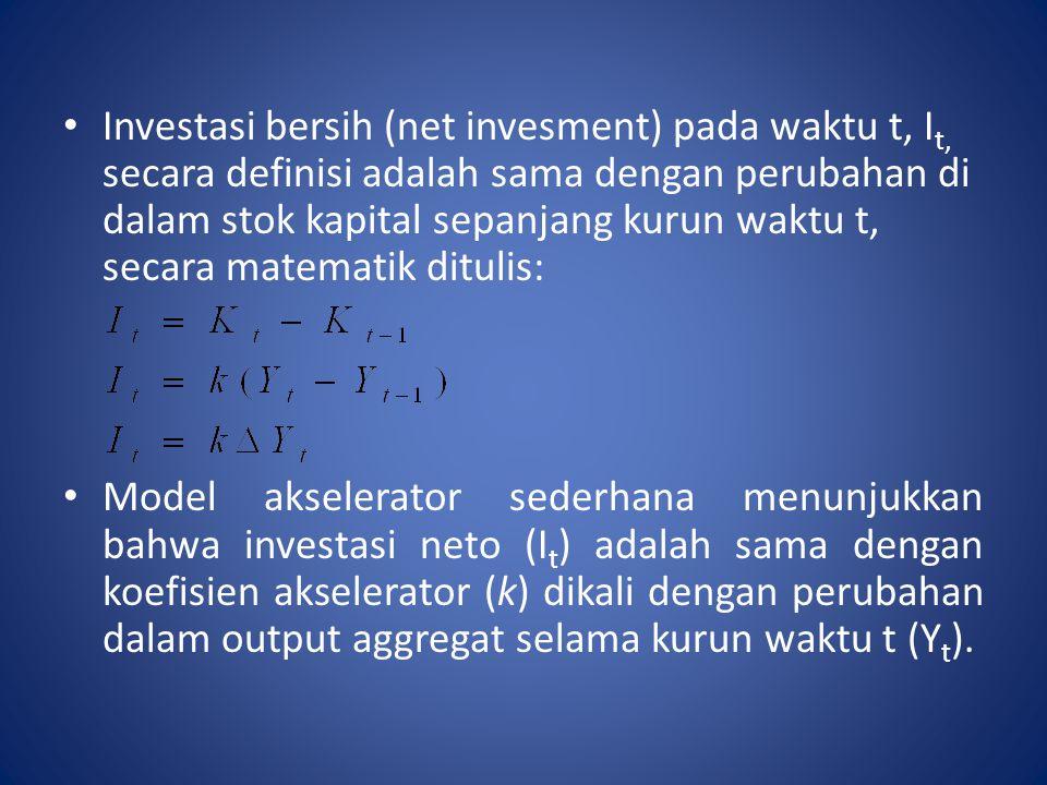 Investasi bersih (net invesment) pada waktu t, It, secara definisi adalah sama dengan perubahan di dalam stok kapital sepanjang kurun waktu t, secara matematik ditulis: