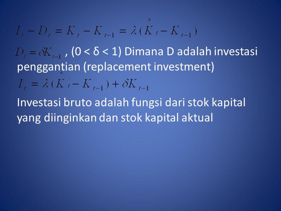, (0 < δ < 1) Dimana D adalah investasi penggantian (replacement investment)
