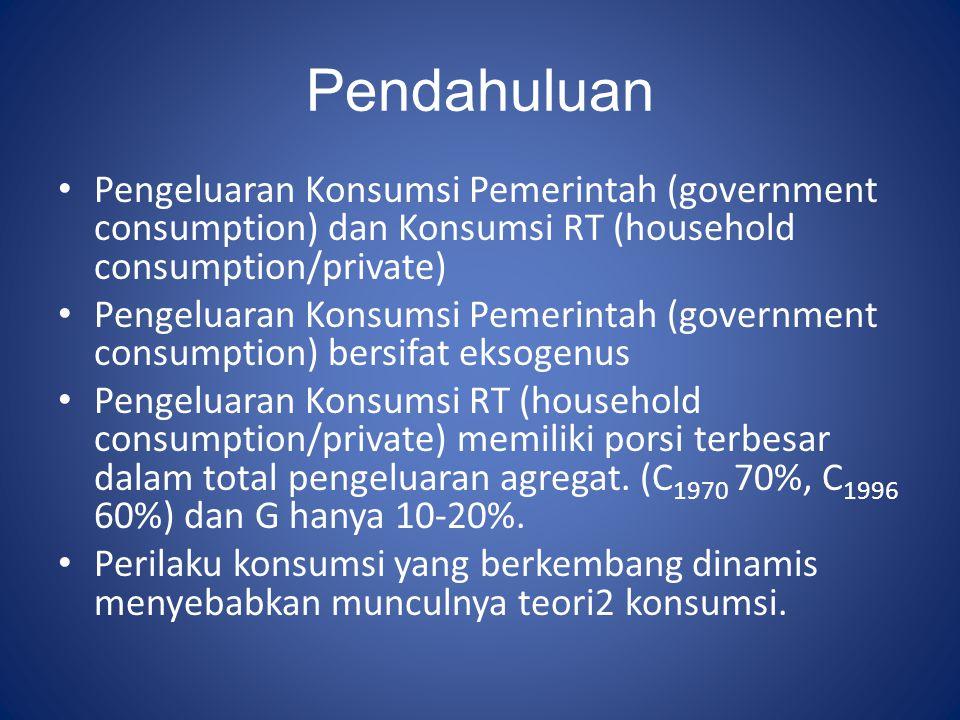 Pendahuluan Pengeluaran Konsumsi Pemerintah (government consumption) dan Konsumsi RT (household consumption/private)