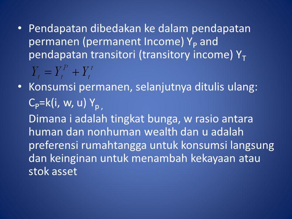 Pendapatan dibedakan ke dalam pendapatan permanen (permanent Income) YP and pendapatan transitori (transitory income) YT