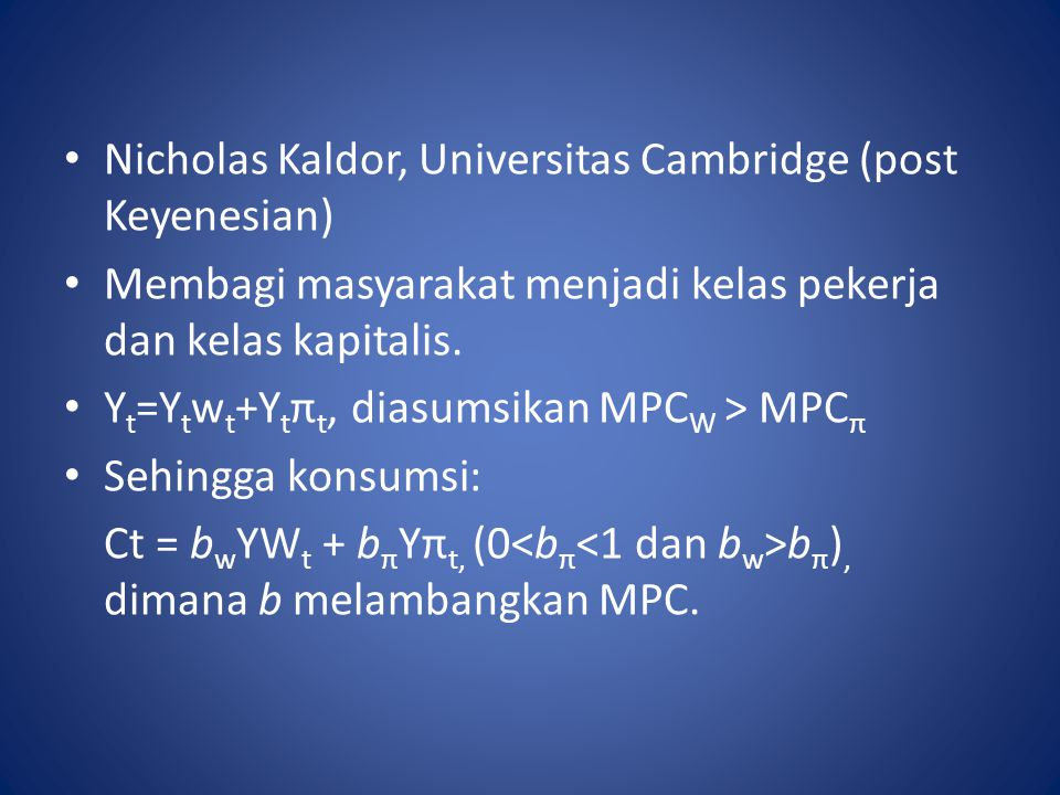 Nicholas Kaldor, Universitas Cambridge (post Keyenesian)