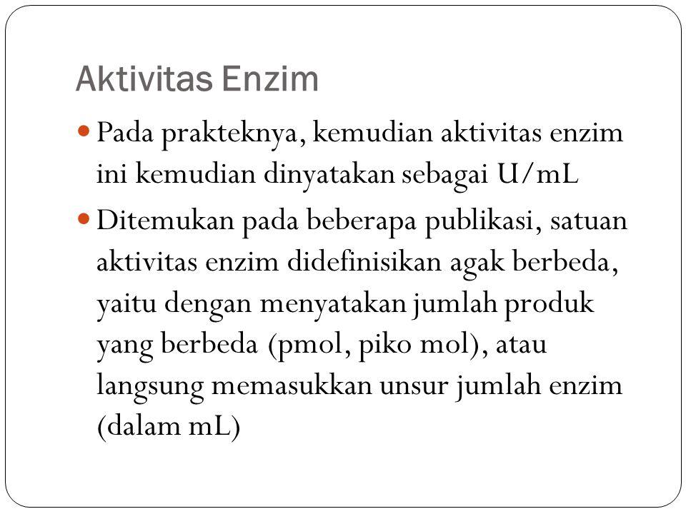 Aktivitas Enzim Pada prakteknya, kemudian aktivitas enzim ini kemudian dinyatakan sebagai U/mL.