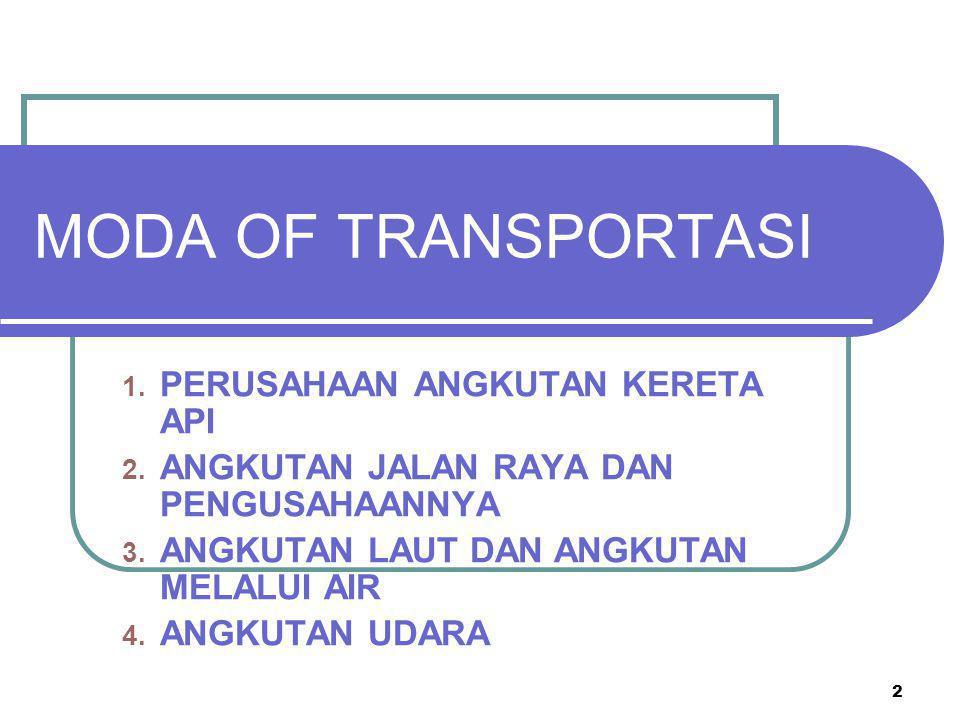 MODA OF TRANSPORTASI PERUSAHAAN ANGKUTAN KERETA API